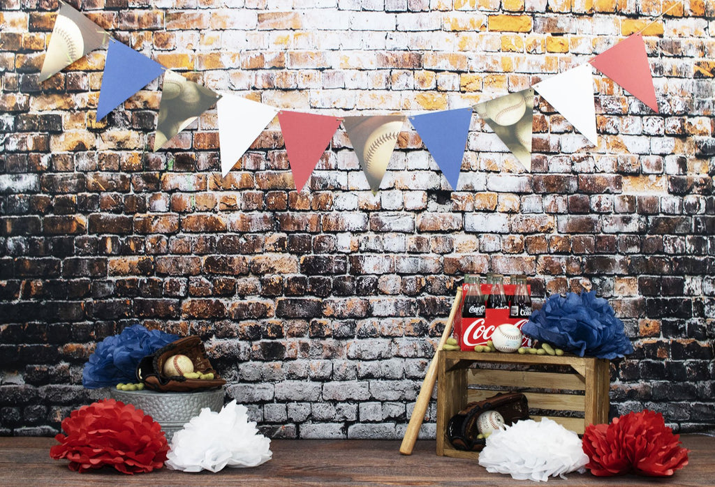 Kate Retro Brick Wall Baseball Theme Backdrop for sports Photography Designed by Leann West