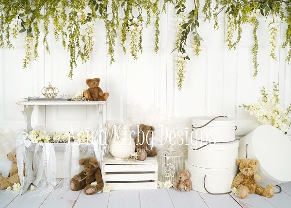 Load image into Gallery viewer, Kate Baby /Kids Teddy Bear Vintage Flower backdrop for photography Designed by Arica Kirby