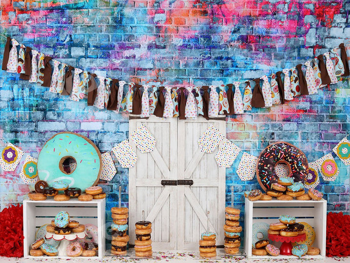 Kate Donut Brown Banners Children Backdrop