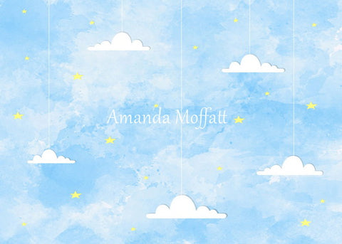 Kate Light Blue Sky and Cloud Backdrop for Photography Designed by Amanda Moffatt