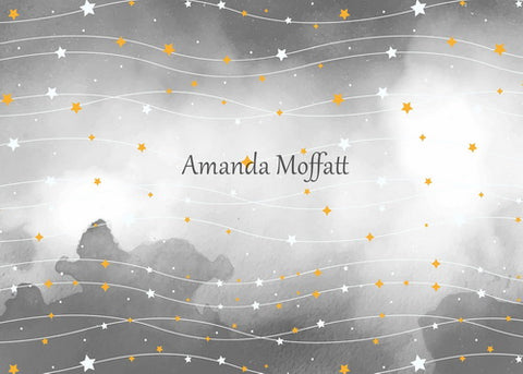 Kate Light Grey Sky and Yellow Star Backdrop for Children Photography Designed by Amanda Moffatt