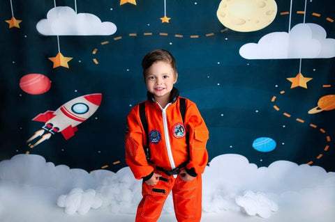 Kate Dark Blue Sky and Yellow Star Backdrop for Children Photography Designed by Amanda Moffatt