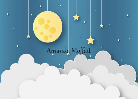 Kate Blue Sky and Yellow Moon Backdrop for Children Photography Designed by Amanda Moffatt