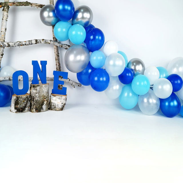 Load image into Gallery viewer, Kate BlueBirchy Blue Balloons First Birthday designed by Arica Kirby