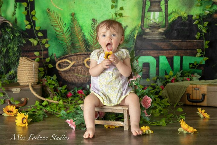 Load image into Gallery viewer, Kate Summer Jungle First Birthday Backdrops print with ONE Designed by Arica Kirby