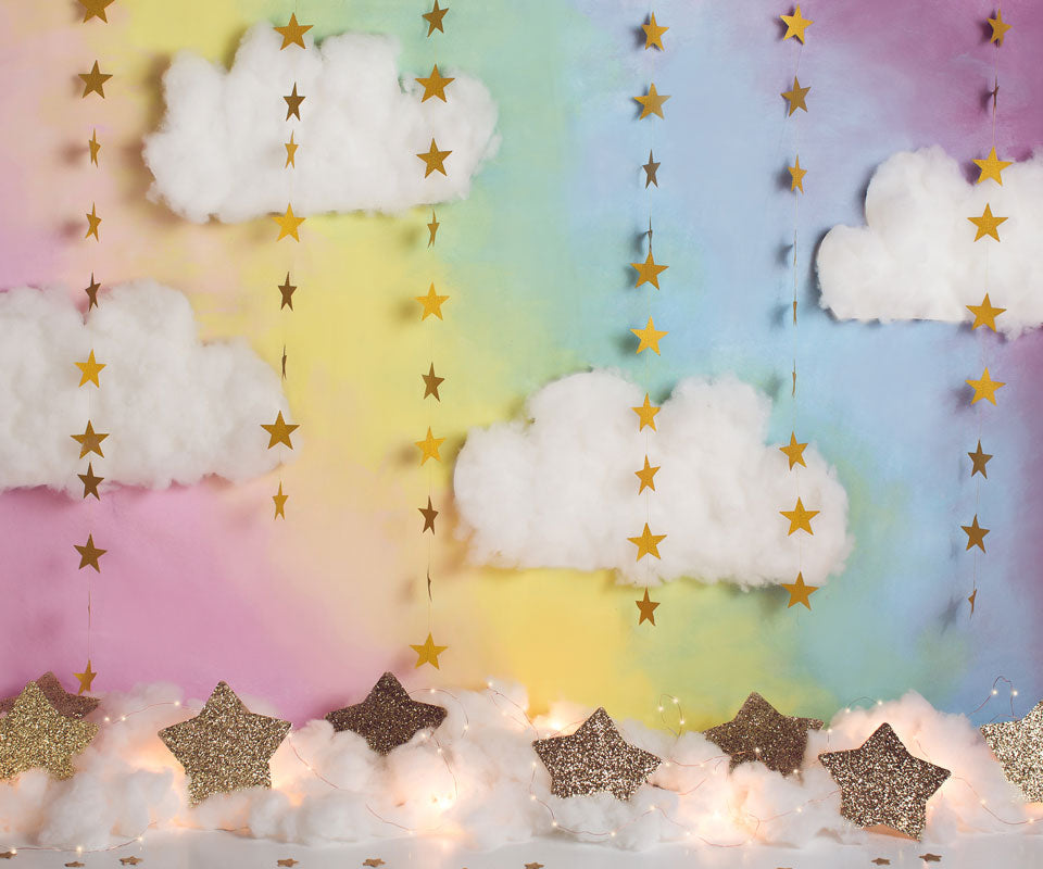 Load image into Gallery viewer, Kate Fantasy Background with Clouds Stars Backdrop for Photography Designed by Megan Leigh Photography