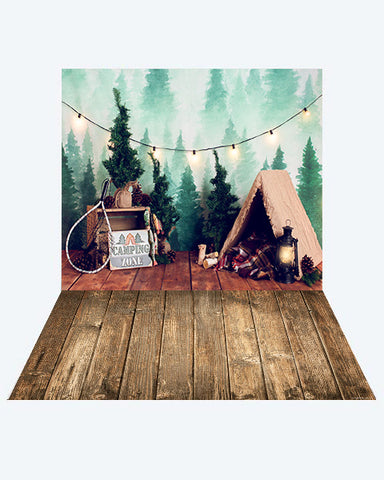 Kate Camping Summer Children Backdrop + Wood Floor Mat for Photography