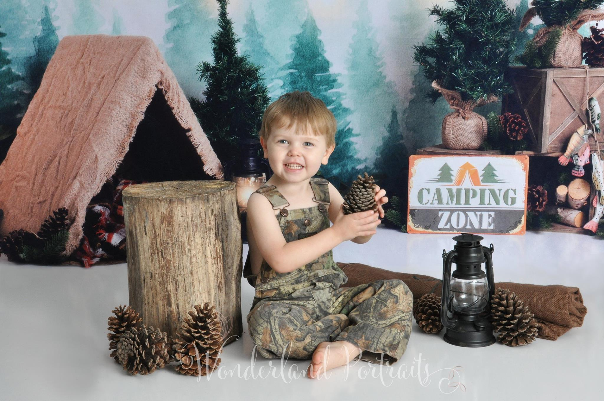 Load image into Gallery viewer, Kate Forest Camping Tent and Lamp Children Summer Backdrop for Photography Designed by Megan Leigh Photography