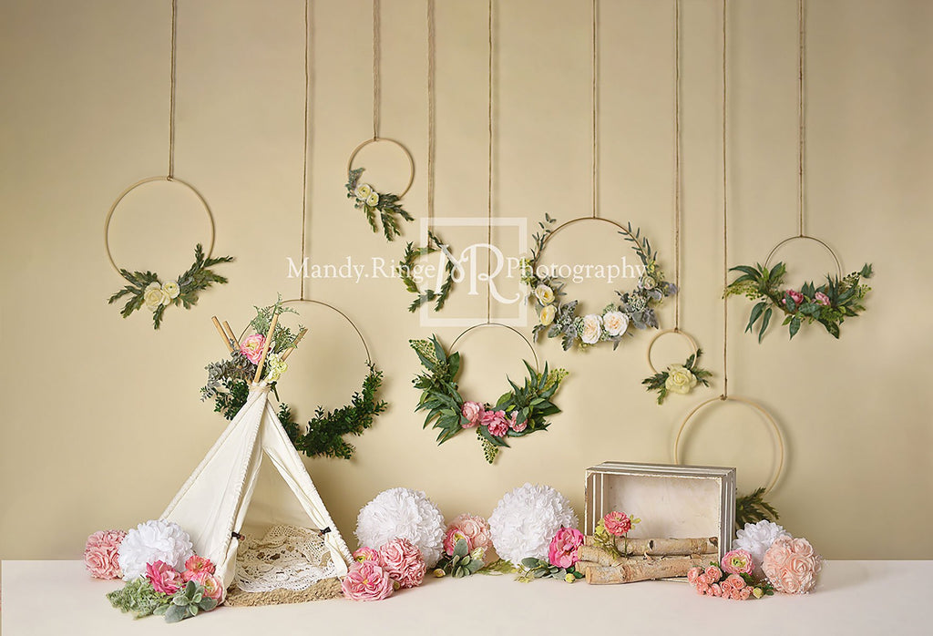 Kate Spring Flowers Camping Children Backdrop for Photography Designed by Mandy Ringe Photography