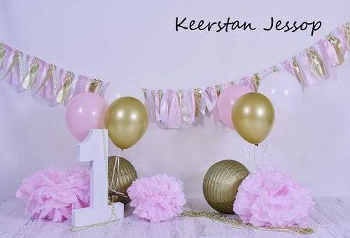 Kate 1st Birthday Balloons and Banners Backdrop for Photography Designed by Keerstan Jessop