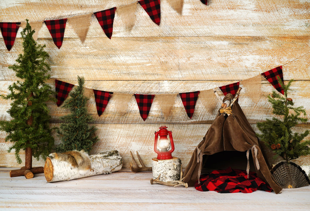Kate Buffalo Plaid Adventures AK Backdrop for Photography designed by Arica Kirby