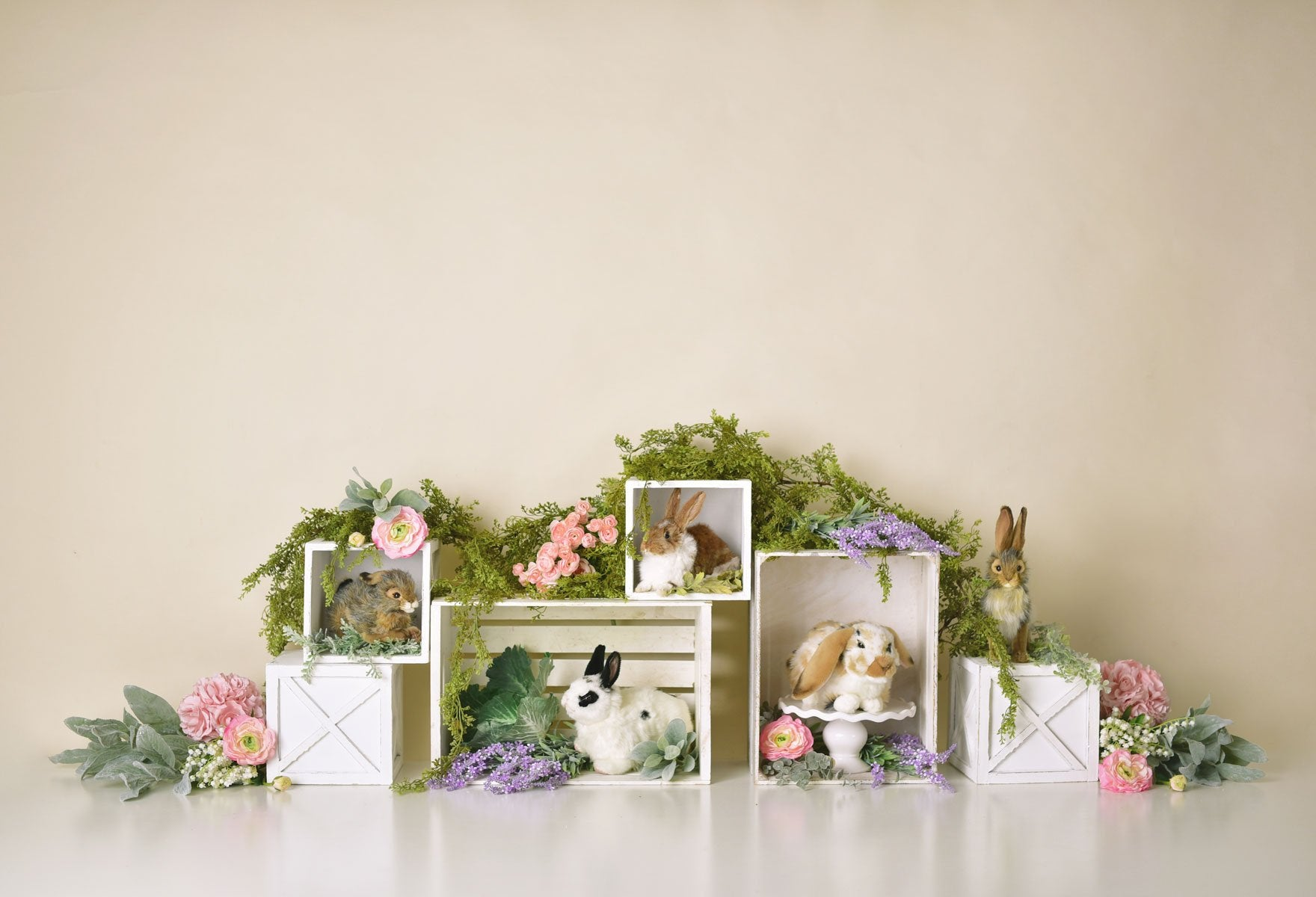 Load image into Gallery viewer, Kate Spring Rabbits Flowers Children Easter Backdrop for Photography Designed by Mandy Ringe Photography