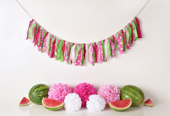 Load image into Gallery viewer, Kate Summer Pink and Green Watermelon Birthday Backdrop for Photography Designed by Mandy Ringe Photography