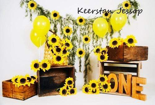 Kate Summer Sunflower With Balloons Spring Backdrop for Photography Designed by Keerstan Jessop