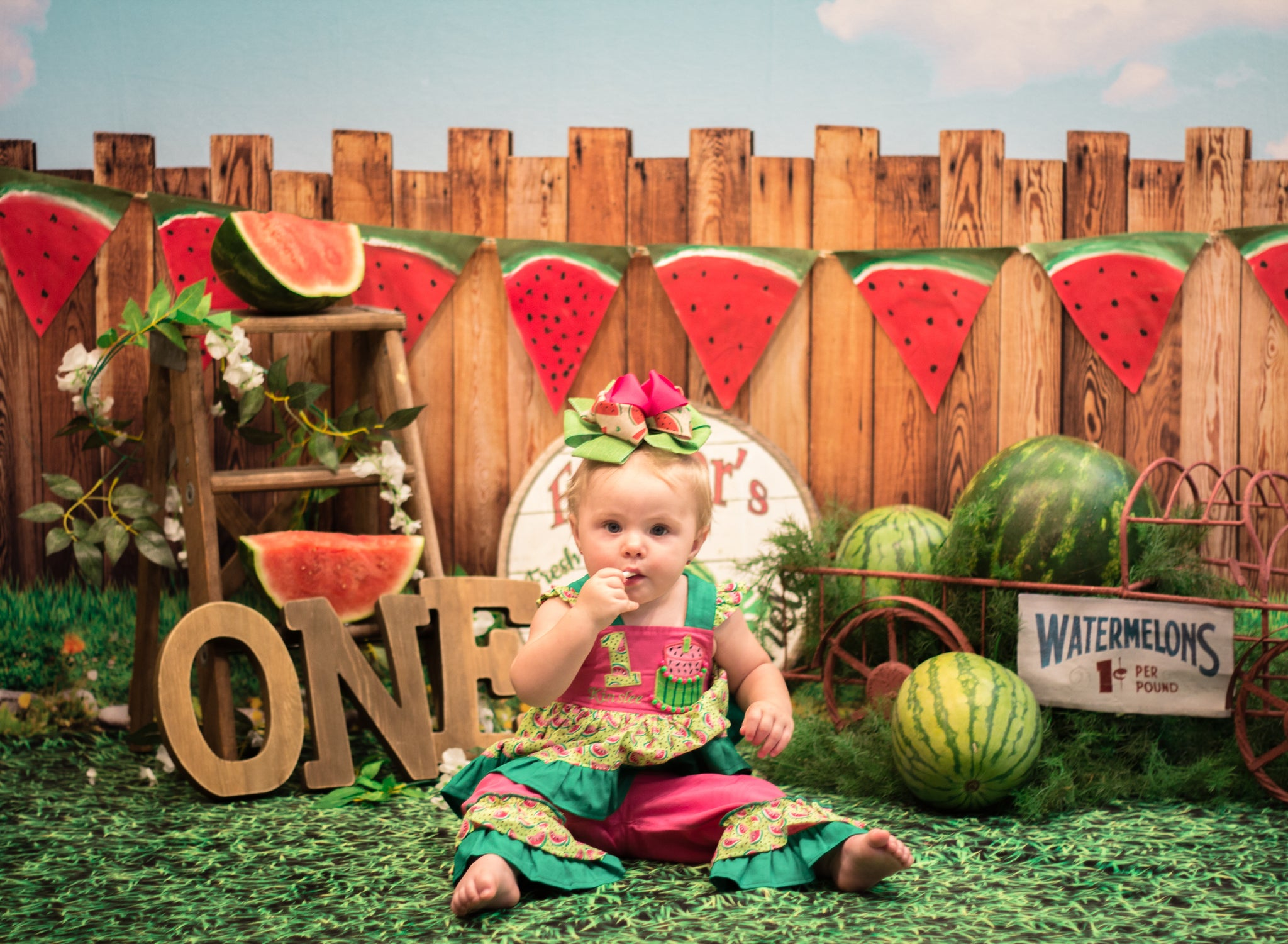 Load image into Gallery viewer, Kate Sunset Fence With Watermelons Birthday Backdrop for Photography Designed by Stephanie Gabbard