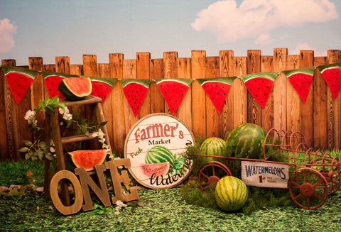 Kate Sunset Fence With Watermelons Birthday Backdrop for Photography Designed by Stephanie Gabbard