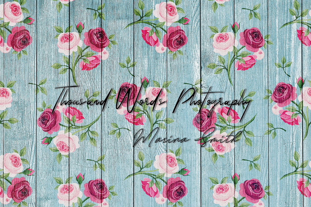 Kate Flower Vintage Roses Blue Backdrop for Photography Designed by Marina Smith