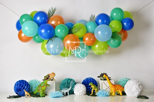 Load image into Gallery viewer, Kate Dinosaur Birthday with Balloons Backdrop for Photography Designed By Mandy Ringe Photography