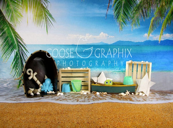Kate Seawater Beach with Sand for Children Playing Backdrop for Photography Designed By Amanda Moffatt