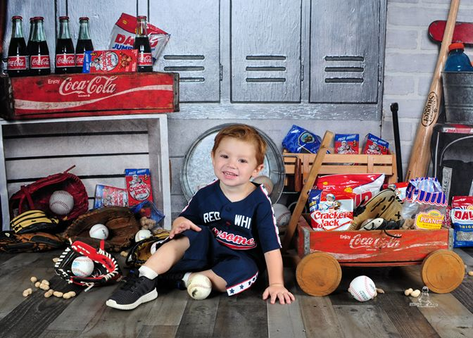 Kate Baseball Storage Room Sports Children Backdrop for Photography Designed by Erin Larkins