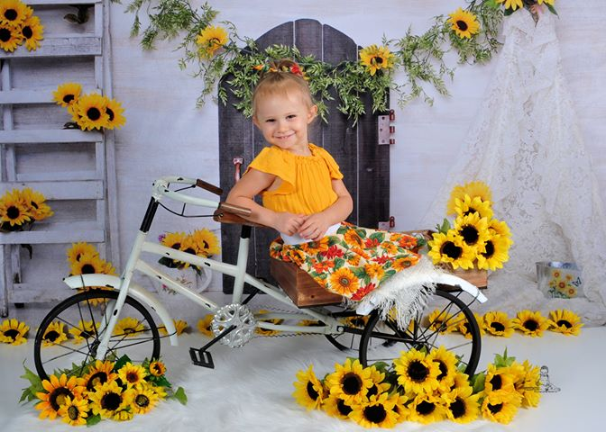 Kate Sunflowers and White Tent Children or Wedding Backdrop for Photography Designed by Erin Larkins