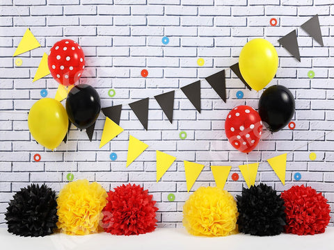 Kate White Brick Wall with Red Black Yellow Decorations Children Birthday Backdrop for Photography Designed by shutter swan