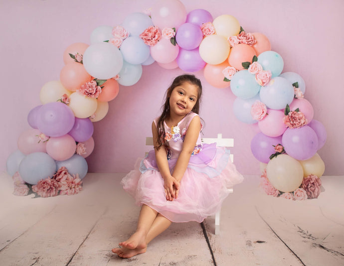 Kate Balloons Rainbow with Flowers for Children Birthday Backdrop for Photography Designed by Kerry Anderson