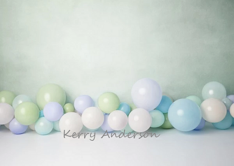 Kate Light Green Balloons for Children Birthday Backdrop for Photography Designed by Kerry Anderson