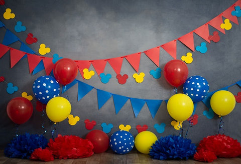Kate Primary Party Mickey Mouse Headshot Children Birthday Backdrop Designed by Marina Smith