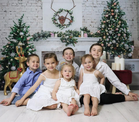Kate Christmas Tree with Fireplace White Brick Wall Warmful Backdrop for Photography
