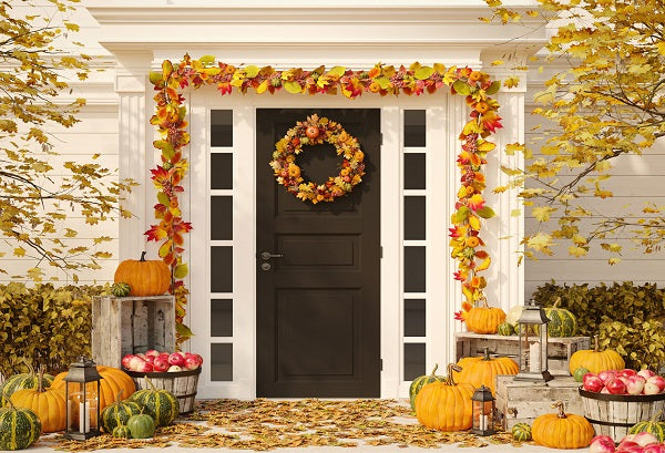 Autumn Harvest Pumpkins Thanksgiving Doorway