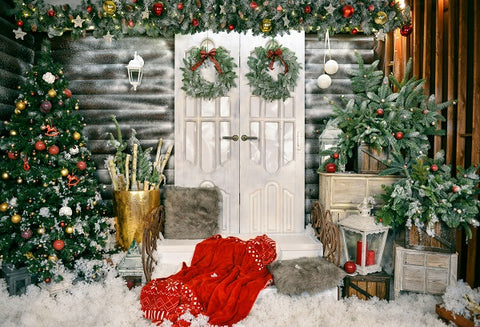 Christmas White Door Decorations Backdrop