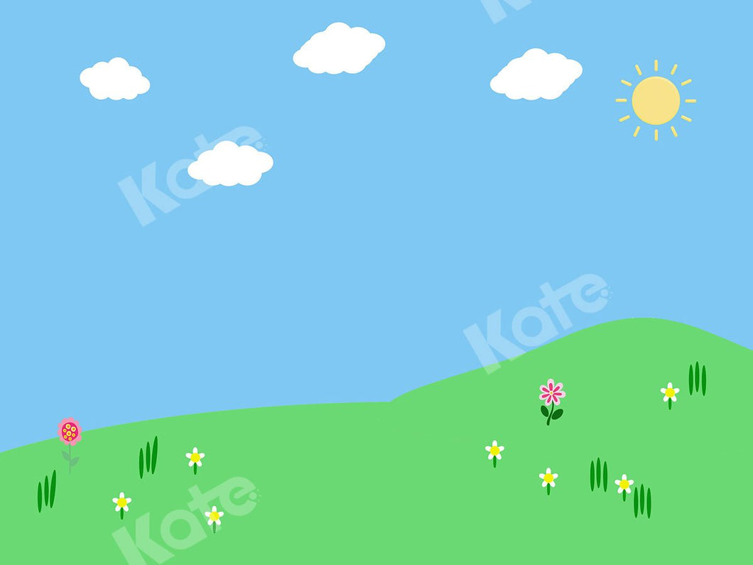 Kate Sunny Day with Clouds Children Backdrop