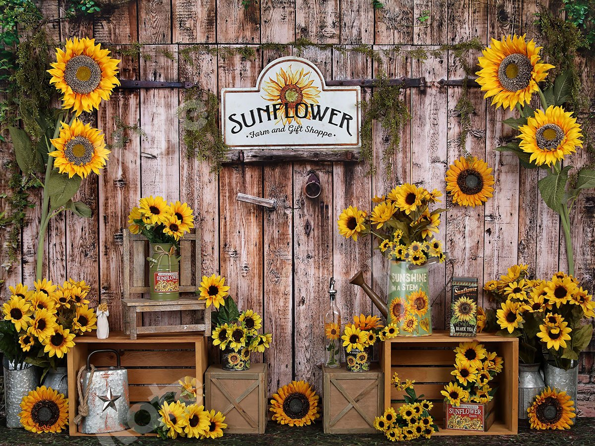 Load image into Gallery viewer, Kate Summer Sunflower Gift Shop Wood Fall Backdrop