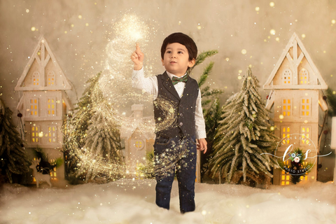 Kate Christmas Tree Small Wood House Children Backdrop for Photography
