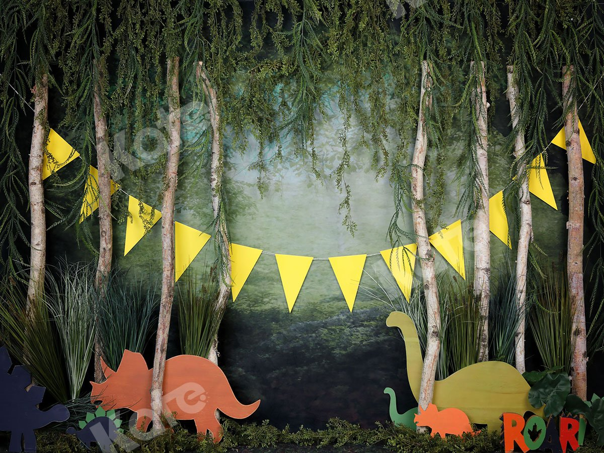 Load image into Gallery viewer, Kate Rainforest Wonderland with Dinosaur Decoration Backdrop