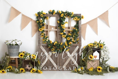 Load image into Gallery viewer, Spring Sunflower Barn Door Decoration Backdrop