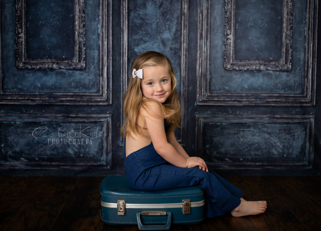 Kate Retro Deep Blue Wall Door Photography Backdrops Wedding
