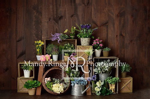 Spring Flower Crates Backdrop