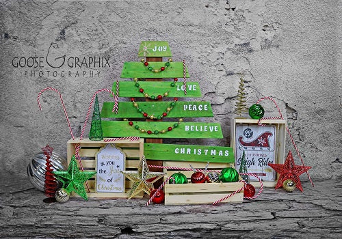 Wooden Christmas Backdrop