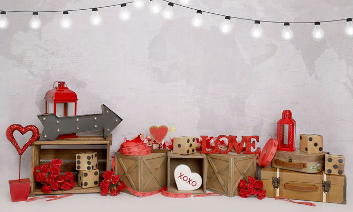 Kate Valentine's Day Love Lights White Wall Backdrop Designed by Melissa King