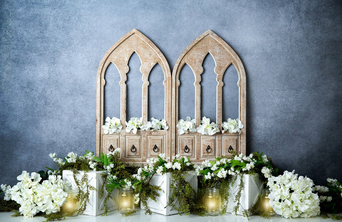 Kate Spring White Flowers Door Blue Backdrop Designed By Megan Leigh Photography