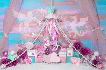 Kate Cake Smash Pink Carousel Unicorn Backdrop Designed by Mini MakeBelieve