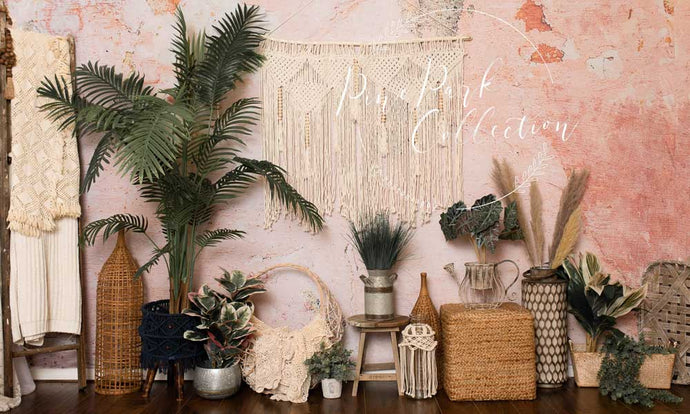 Kate Cake Smash/Mother's Day Backdrop Summer Pink Bobo Room with Ladder Designed By Pine Park Collection