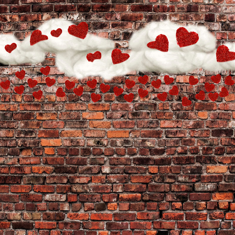 Load image into Gallery viewer, Kate Dark Brick with Red Hearts Valentine's Day Backdrop for Photography designed by Jerry_Sina