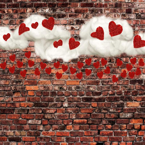 Kate Dark Brick with Red Hearts Valentine's Day Backdrop for Photography designed by Jerry_Sina