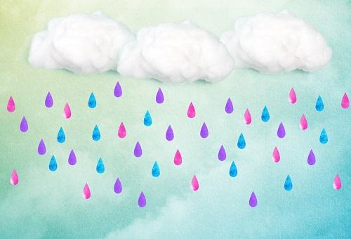 Load image into Gallery viewer, Kate Clouds And Colored Rain Baby Shower Backdrop for Photography designed by Jerry_Sina