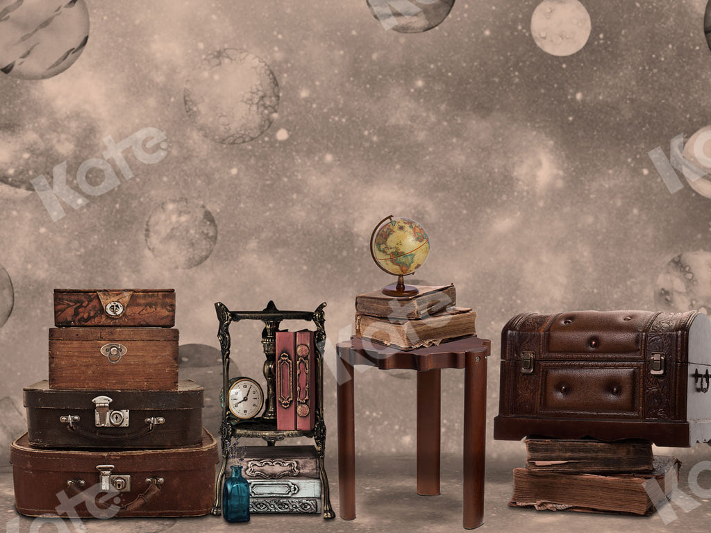 Vintage Suitcase and Book Travel with me Backdrop