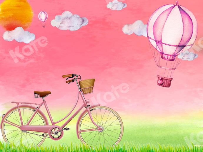 Pink Hot Air Balloon Bicycle Valentine/Girl Backdrop