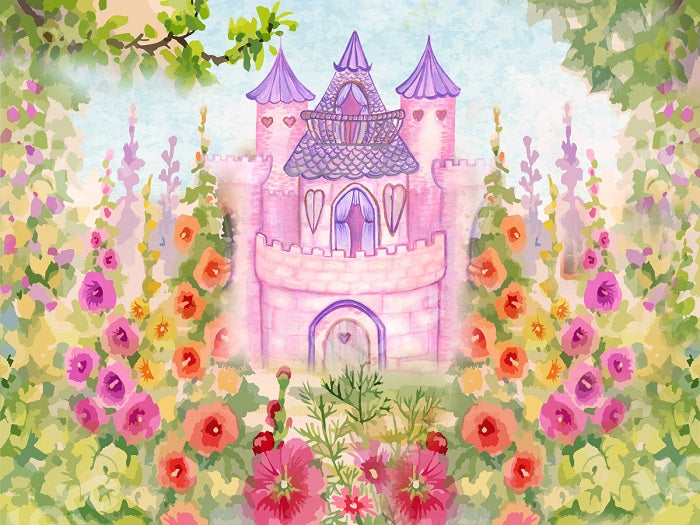 Spring Castle Flower Garden Backdrop